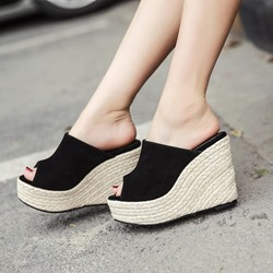Black Casual Platform Flip Flop Wedge Heel Sandals