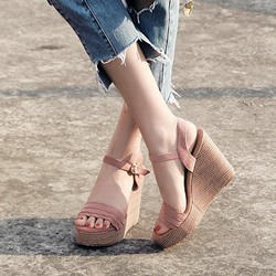 Ankle Strap Buckle Platform Open Toe Wedge Sandals