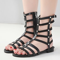 Black Rivet Flat Sandals Ankle Strap Gladiator Shoes