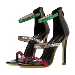 Sequin Stiletto Heel Dress Sandals