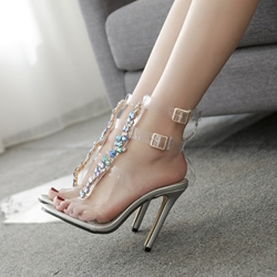 Jelly Rhinestone High Stiletto Heel Sandals