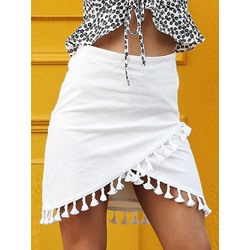 Tassel Plain Mini Skirt High-Waist Women's Skirt