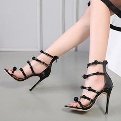 Black Beads Dress Sandals Stiletto Heel