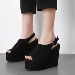 Black Peep Toe Slingback Strap Wedges