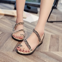 Flat Sandals Toe Ring Rhinestone Summer Shoes