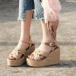 Ankle Strap Hasp Light Apricot Wedge Sandals