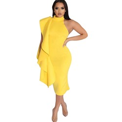 Shoespie Sleeveless Pullover Yellow Women's Bodycon Dress