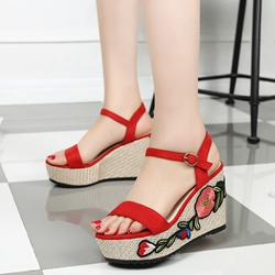 Embroidery Platform Floral Wedge Sandals