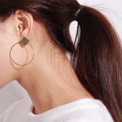 Hollow Concise Rhombus Shape Alloy Hoop Earrings