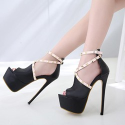 Black Rivet Sexy High Stiletto Heels