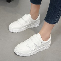 White Round Toe Women's Sneakers