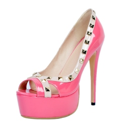 Rivet Platform Plain Stiletto Heels