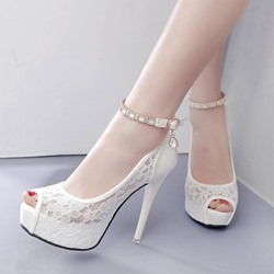 Rhinestone Line-Style Buckle Wedding Shoes