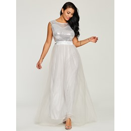 Shoespie Chiffon Sequins Western Women's A-Line Dress
