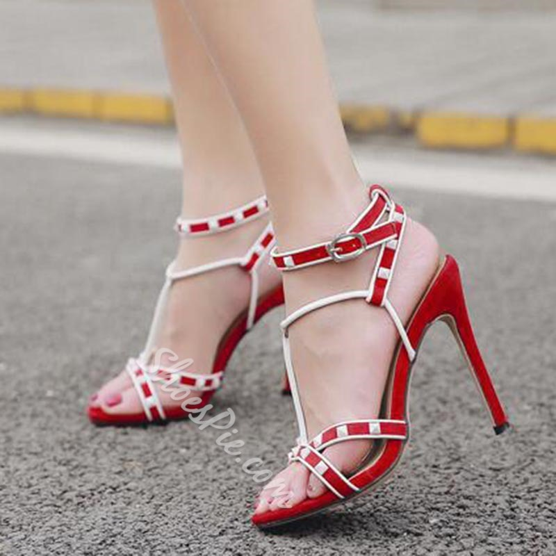 Rivet Color Block Ankle Strap Stiletto Heel Dress Sandals