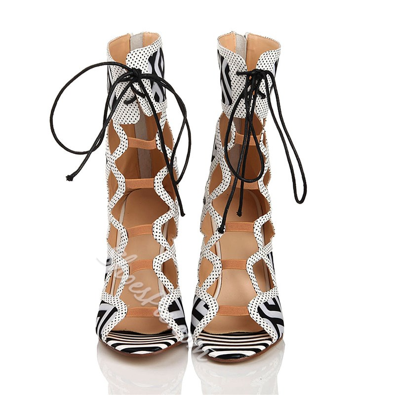 ShoespiePeep Toe Lace-Up Front Hollow Print Ankle Boots