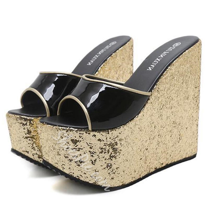 Slip-On Sequin Platform Flip Flop Wedge Sandals