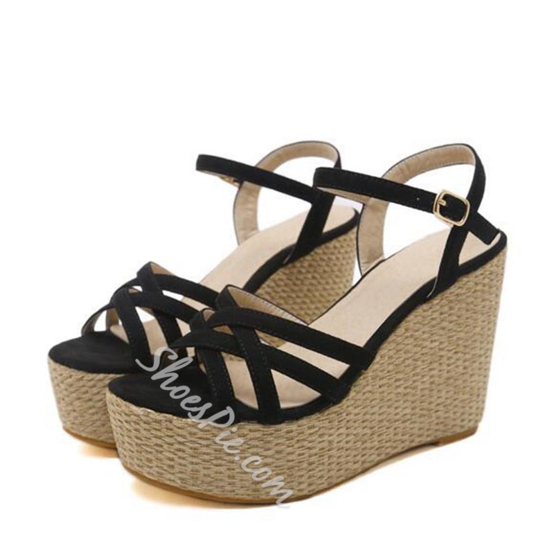 Platform Ankle Strap Wedge Heel Sandals