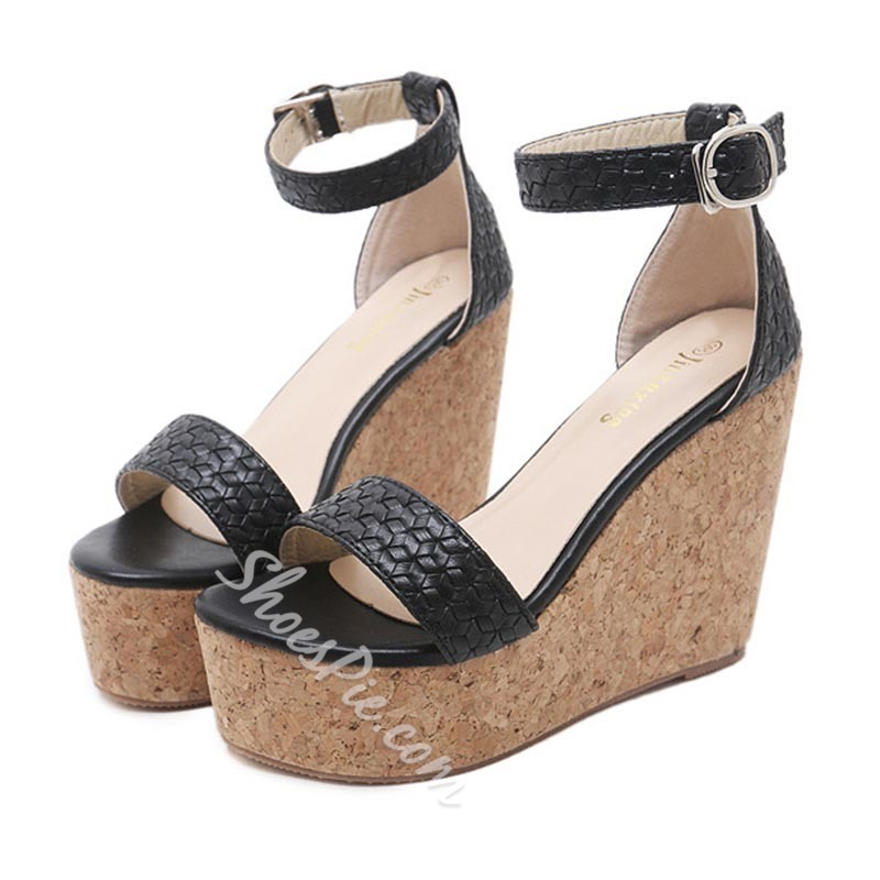 Summer Platform Line-Style Buckle Wedge Heel Sandals