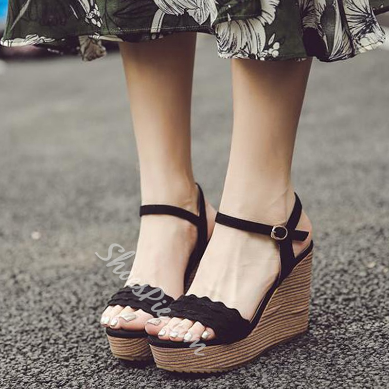 Summer Ankle Strap Hasp Platform Wedge Heel Sandals
