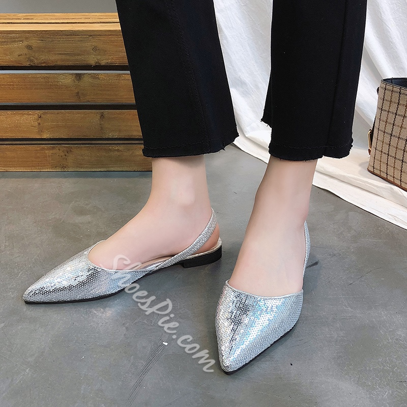 Sequin Sexy Slingback Strap Low Heels