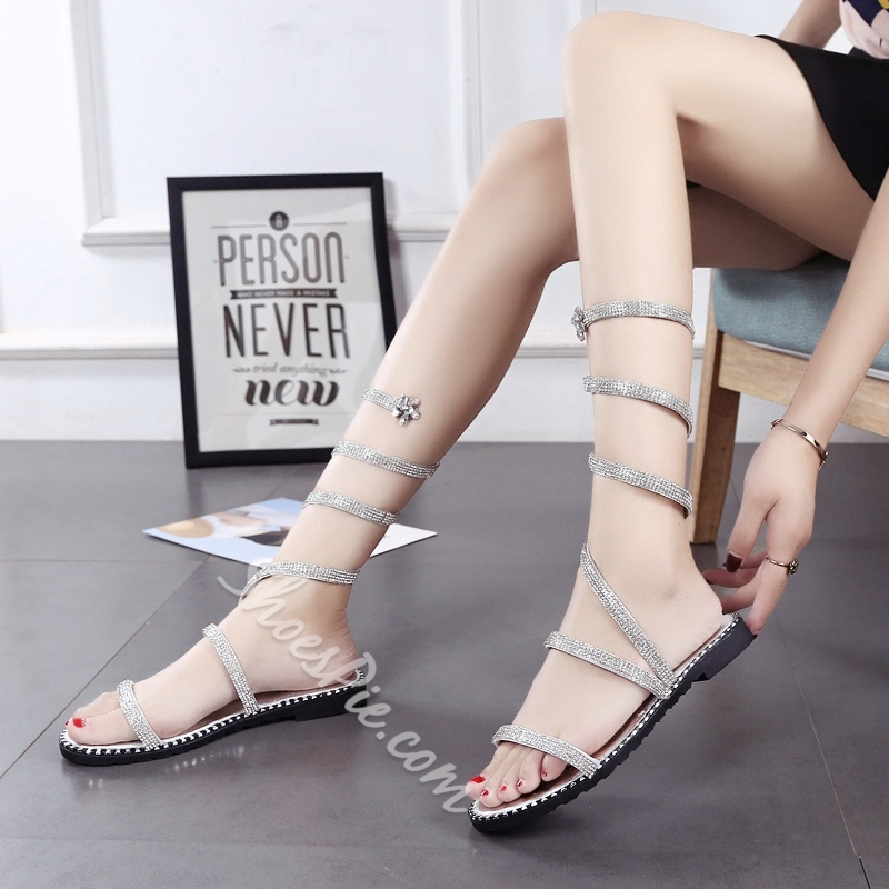 Ankle Strap Flat Sandals Rhinestone High Shaft Summer Women's Shoes