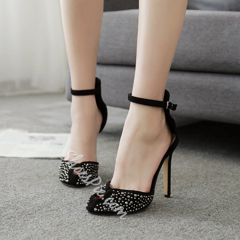 Rivet Stiletto Heel Dress Sandals