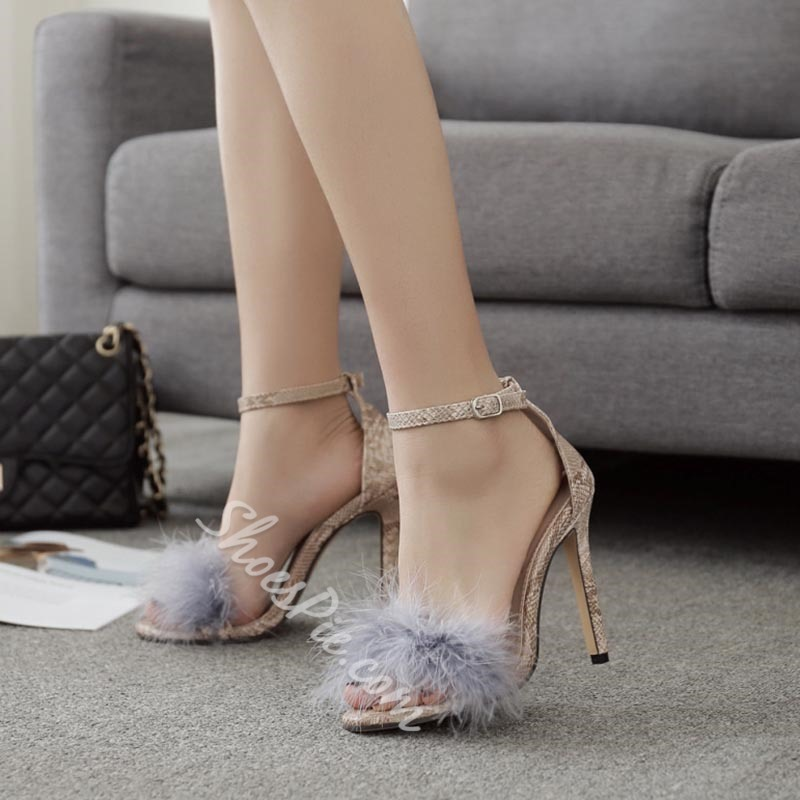 Line-Style Buckle Casual Stiletto Heel Dress Sandals