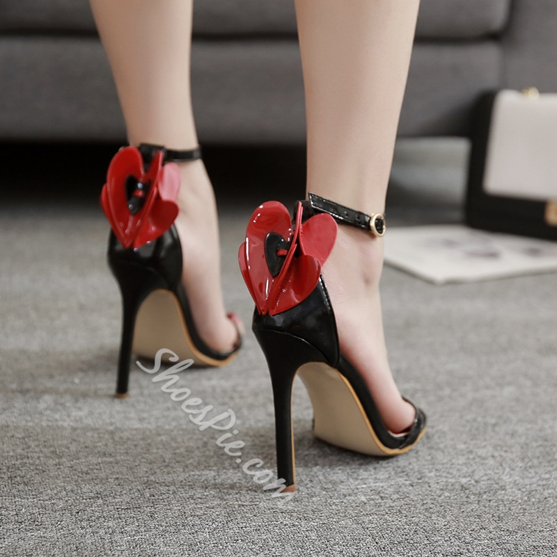 Banquet Heart Dress Sandals Line-Style Buckle Stiletto Heel