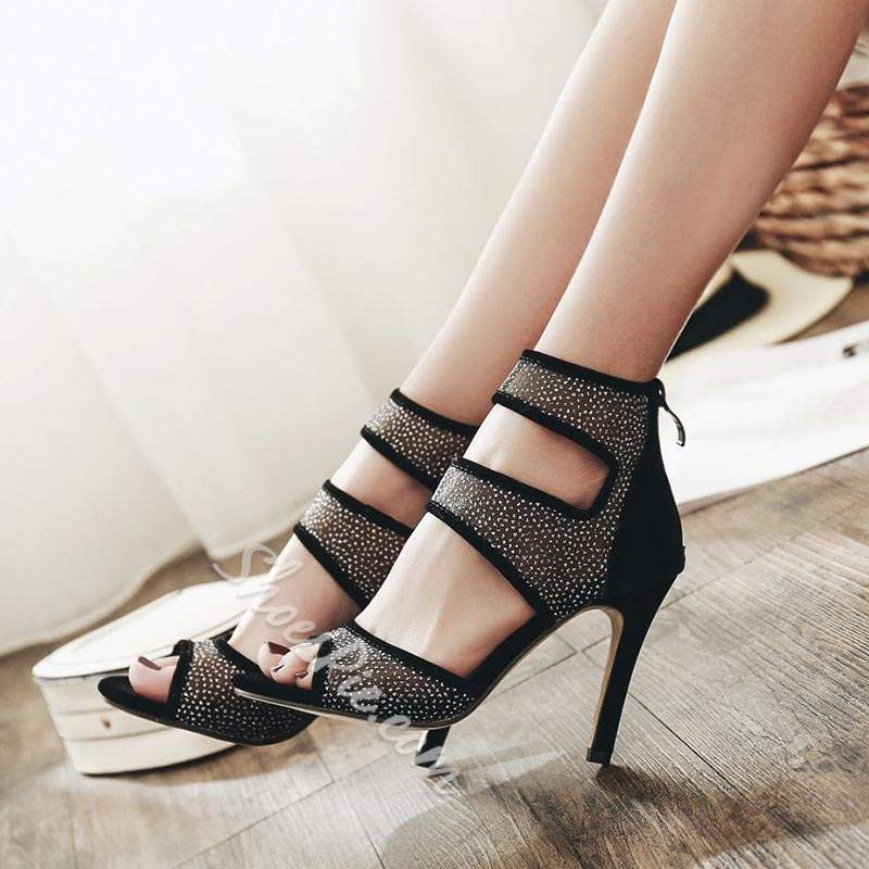 Sequin Black Patchwork Stiletto Heel Sandals