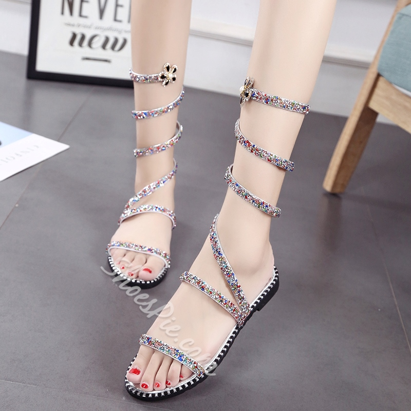 Summer Sequin Flat Sandals Ankle Strap High Shaft Women's Shoes