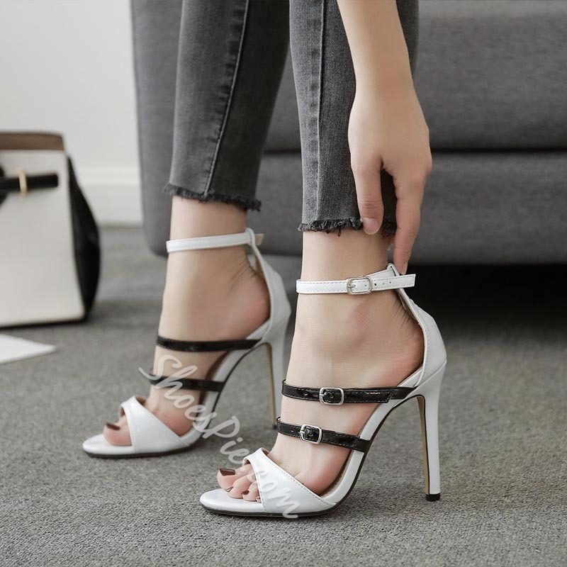 Summer Buckle Casual Stiletto Heel Dress Sandals