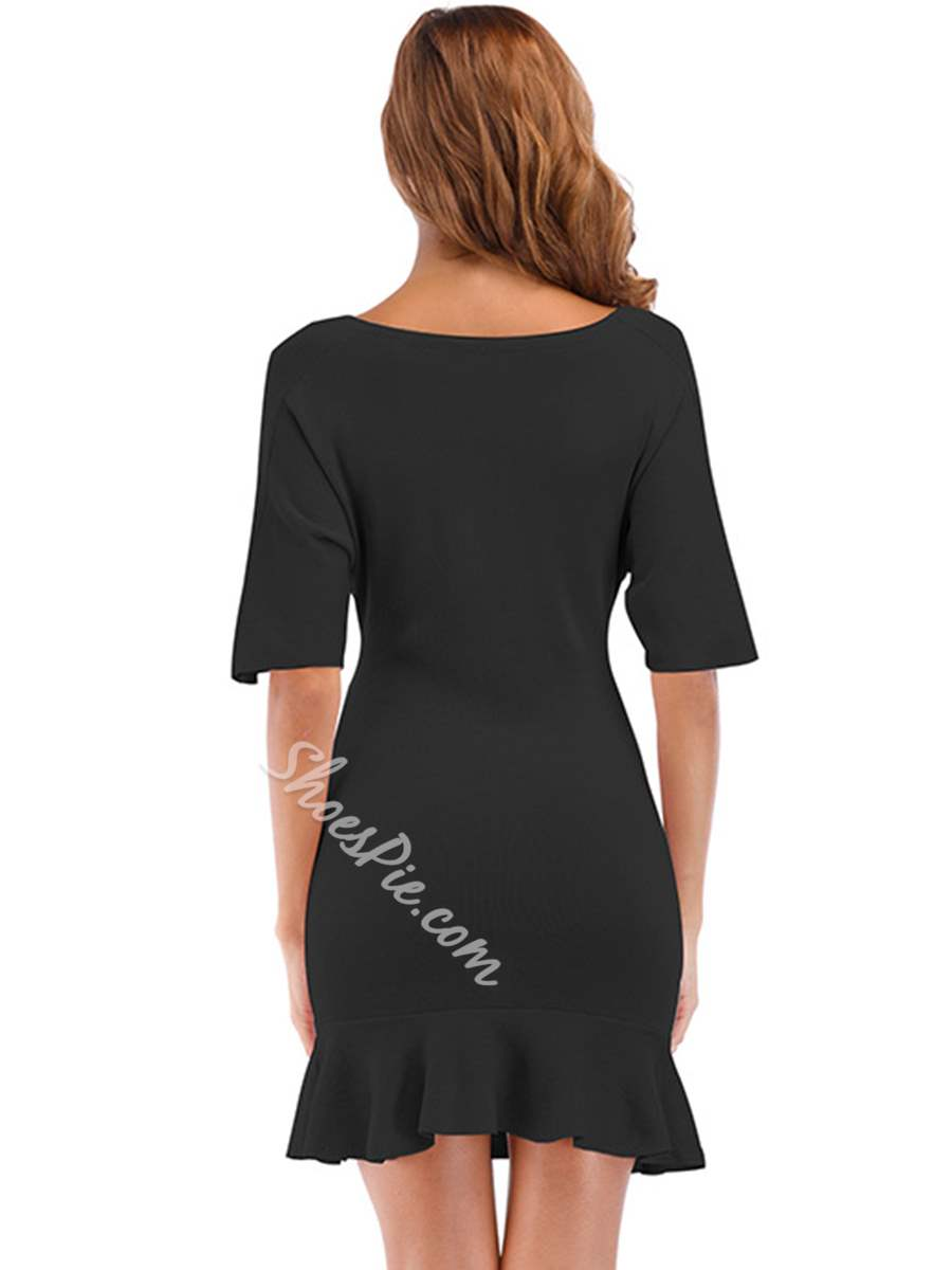Shoespie Summer V Neck Plain Women's Bodycon Dress