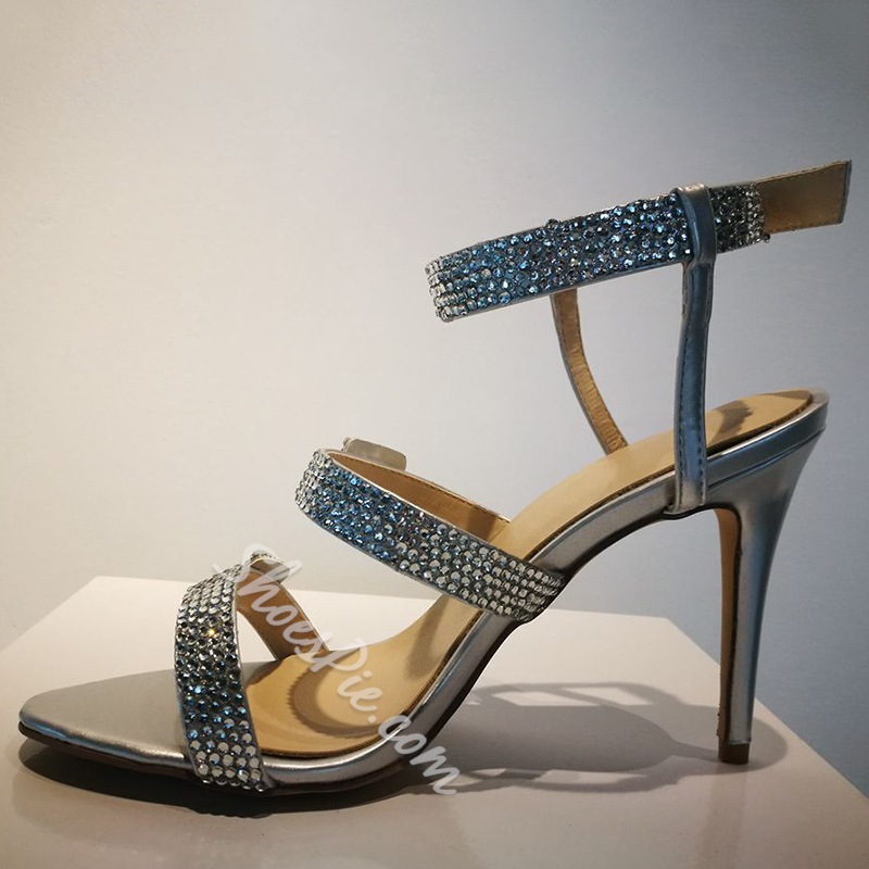 Shoespie Silver Sequined Buckles Dress Sandals