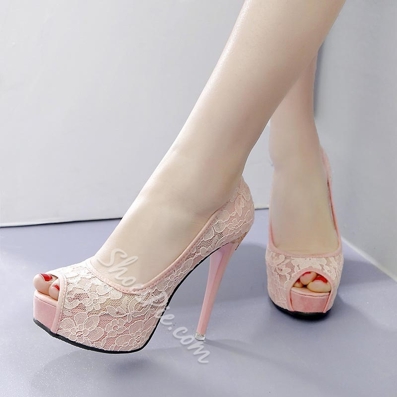 Peep Toe Platform Stiletto Heel Wedding Shoes