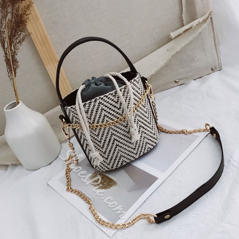 Shoespie Thread Plain Grass Barrel-Shaped Tote Bags