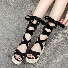 Lace-Up Platform Ankle Strap Wedge Sandals