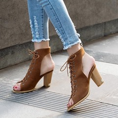Chunky Heel Lace-Up Strappy Dress Sandals