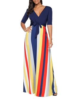 Shoespie Lace-Up V Neck Women's Maxi Dress