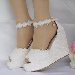 Appliques Beads Platform Peep Toe Wedding Dress Sandals