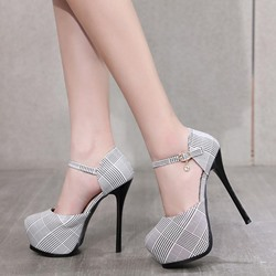 Plaid Line Style Buckle Platform Stiletto Heels