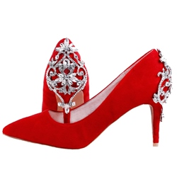 Red Rhinestone Slip On Wedding Shoes
