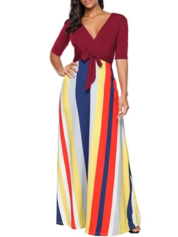 Shoespie Stripe V Neck Regular Women's Maxi Dress