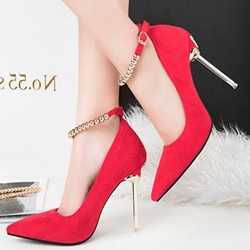 Pointed Toe Line-Style Buckle Stiletto Heels