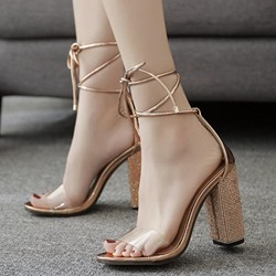 Chunky Heel Lace-Up Rhinestone Dress Sandals