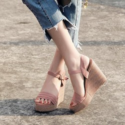 Open Toe Ankle Strap Platform Wedge Heel Sandals