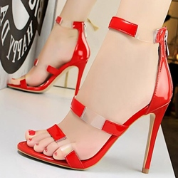 Jelly Stiletto Heel Plain Dress Sandals