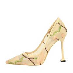 Floral Slip On Stiletto Heel Pumps