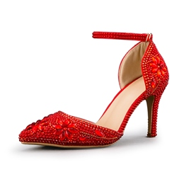 Red Line Style Buckle Wedding Shoes