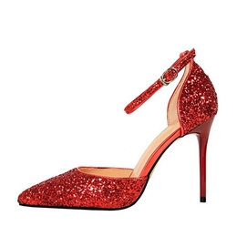 Sequin Line Style Buckle Stiletto Heels